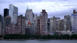 New York 162HD Manhattan, Skyline early in the Morning seen from Hudson River Footage