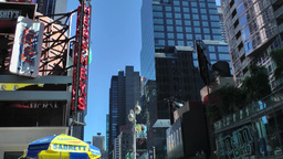 New York 189 Manhattan tall buildings against sky in 7th avenue Times Square Footage