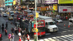 New York 198 Manhattan busy 7th avenue seen from above public platform Footage