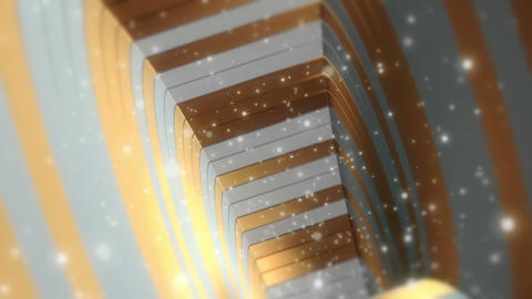 Fantastic Pure Gold and White Tunnel With Particles Seamless Looping Background Animation