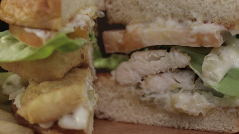 Fish Fillet Burger Sliced Close up - Display - Slider - Focus Pull Live Action