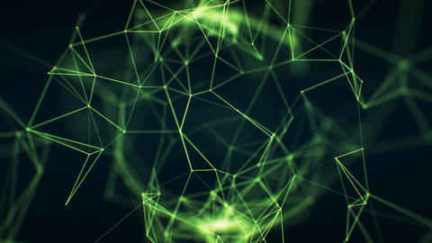 Flying Through the Abstract Growing Network Green Color in Cyberspace Seamless Animation