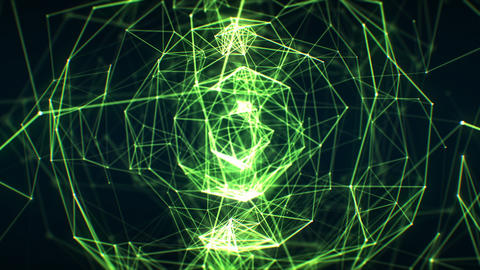 Growing Abstract Network Green Color in Cyberspace Seamless with DOF Blur Animation