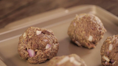 Meat Patty Creation - Putting Beef Balls On Paper -Side Angle Footage