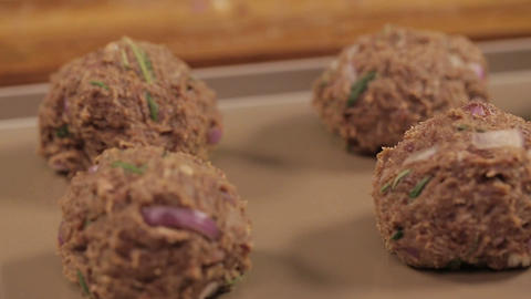 Meat Patty Mixture - Meat Balls On A Tray - Focus Pull Live Action