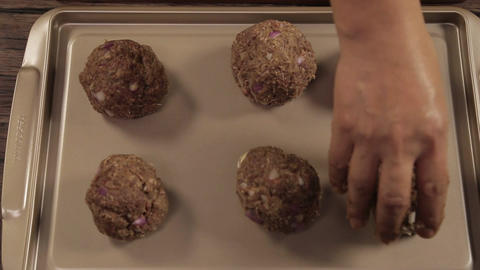 Meat Patty Mixture - Putting Meat Ball On A Tray - Top Angle Footage