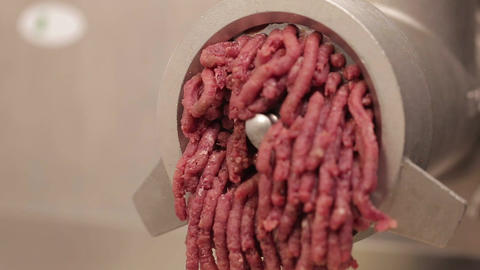 Meat Mincing - Minced Beef Coming Out - Front Angle, Live Action