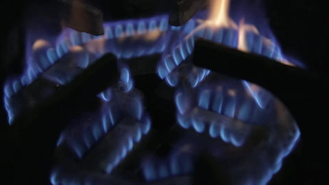 Fire - Stove Fire Flames Close Up - Focus Pull Footage