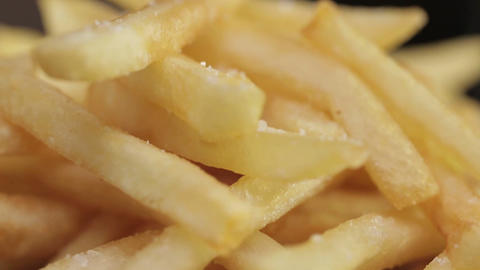 French Fries - French Fries With Salt Close Up - Tilt - Top To Bottom Footage