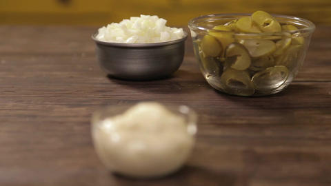 Mayonnaise - Mayonnaise, Onion and Pickles In A Small Bowl - Front Angle - Focus Footage