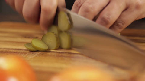 Pickles - Cutting Pickles On Wood - Complete Process - Front Angle Footage