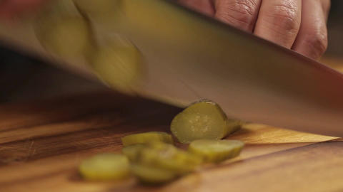 Pickles - Close Up - Cutting Pickle On Wood - Complete Process - Side Angle Footage