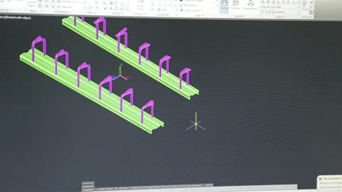Close Up Of Just Computer Screen Showing Autocad Engineering Design - Timelapse Footage