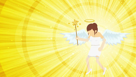 Cartoon angel flying in heaven. Happy. Business costume. Cosplay. Loop flat CG動画素材