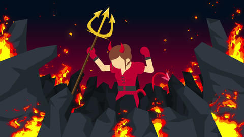 Cartoon devil flying on hell. Business character on burning wilderness. Animation