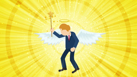 Cartoon angel flying in heaven. Happy. Business costume. Cosplay. Loop flat CG動画