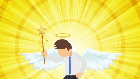 Cartoon angel flying in heaven. Happy. Business costume. Cosplay. Loop flat Animation