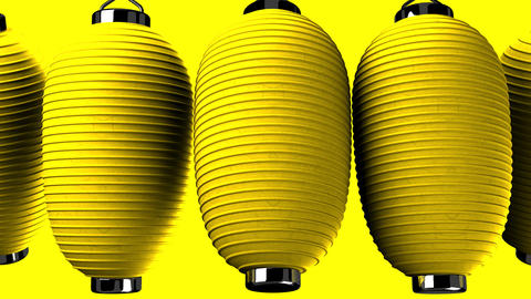 Yellow paper lanterns on yellow background Animation