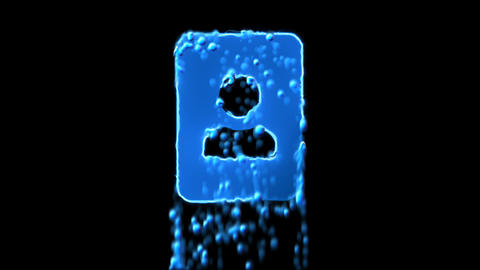 Liquid symbol portrait appears with water droplets. Then dissolves with drops of Animation