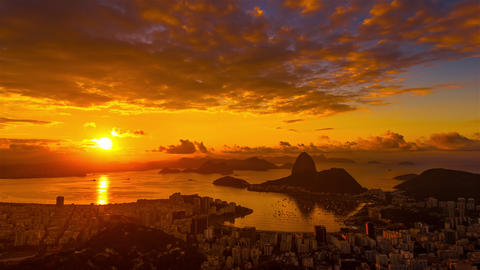 Sunrise time-lapse overlooking Rio de Janeiro and Sugarloaf Mountain Footage