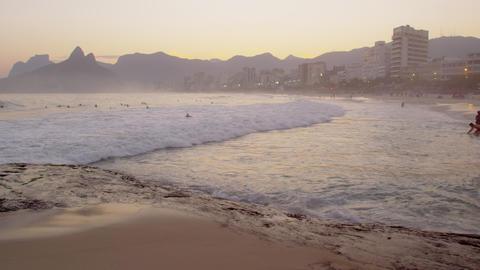 Surfers in the Atlantic ocean Footage