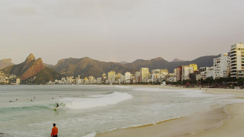 Morning surfers on Ipanema beach Footage