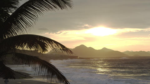 Waves crashing on Ipanema beach at sunset Footage