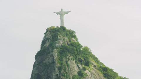 Tilting shot of Corcovado and Christ statue Footage