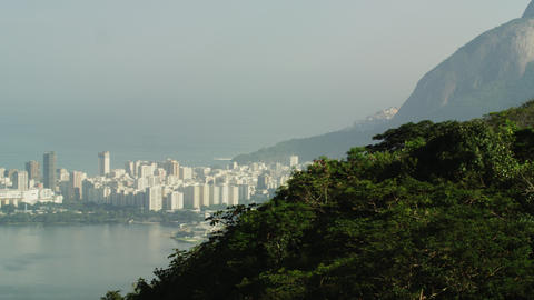 Pan of Rio and surrounding mountains from lookout Footage
