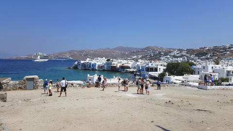 Mykonos Town, Greece tourists at the windmills gazing Little Ve Footage