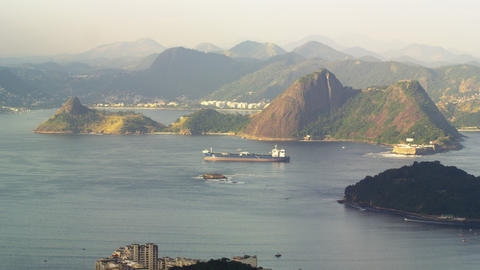 Pan of barge moving across Guanabara Bay Footage