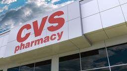 CVS Health logo on the modern building facade. Editorial 3D rendering Footage