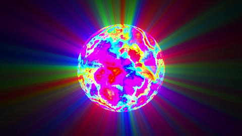 Big Psychedelic Sphere Colorful Rays Abstract Motion Background Loop Slow Animation