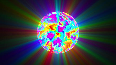 Big Psychedelic Sphere Colorful Rays Abstract Motion Background Loop Slow Videos animados