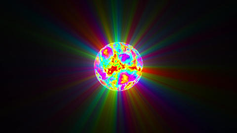 Small Side Colorful Sphere Surface Rays Abstract Motion Background Loop Slow Animation