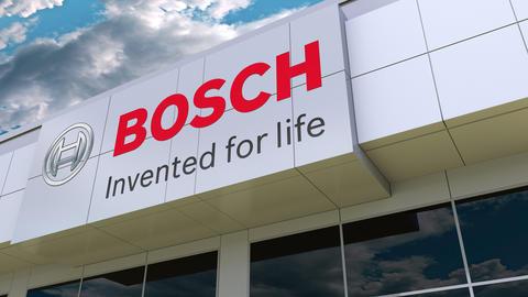Robert Bosch GmbH logo on the modern building facade. Editorial 3D rendering Live Action