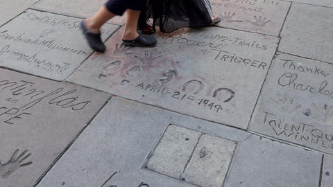 Handprint Footprint Autograph Hollywood Celebrities At Chinese Theatre Los Footage