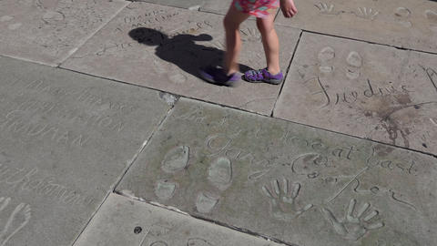 Celebrity Handprints Footprints Autographs At Chinese Theatre Hollywood Los Footage