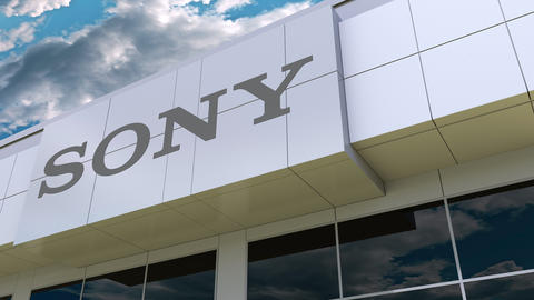 Sony Corporation logo on the modern building facade. Editorial 3D rendering Footage