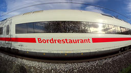 ICE passenger train passing by, slow motion Footage