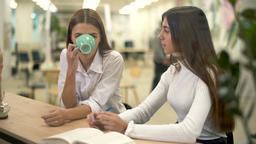 Two female collegues in modern hub drink cappuccino and discuss strategy and Footage