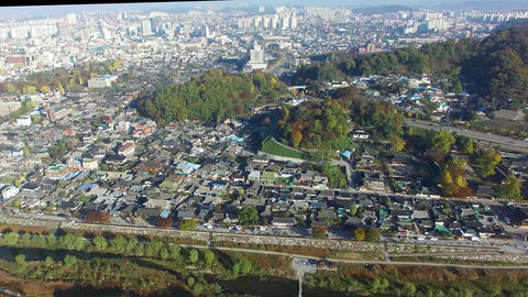 Aerial View of Jeonju Hanok Village 03 Live Action