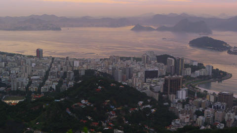 Morning pan over the Rio de Janeiro cityscape featuring the sea Footage