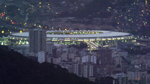 High-angle night shot of Maracanã stadium Live Action