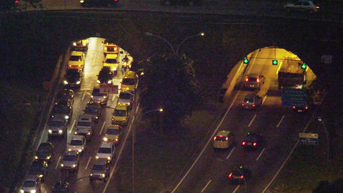 Cars entering and leaving Rio's Rebouças tunnel Footage