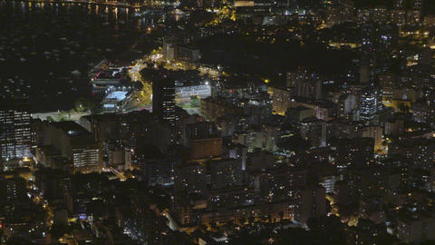 Time-lapse shot of downtown Rio De Janeiro at night from above Footage