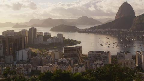 Cars in steady traffic onAvenida das Nacoes Unida- Rio de Janeiro, Brazil Footage