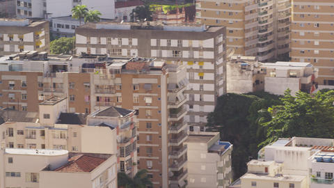 Close pan, from park to residential buildings, of Rio de Janeiro, Brazil Footage