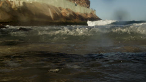 Waves and a wet camera lens off the coast of Rio Footage