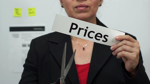 Businesswoman Cuts Prices Concept Footage